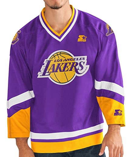"Los Angeles Lakers Starter NBA Men s ""Crossover Hockey Jersey Camiseta,"