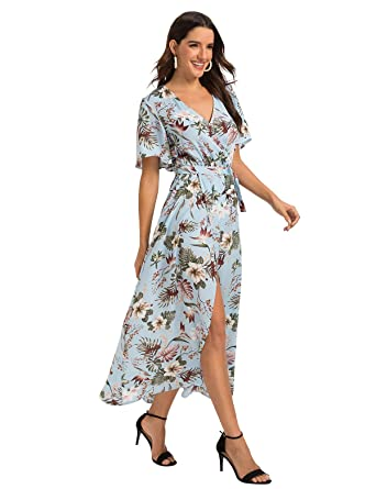 b9d9a4f84c Escalier Women's Floral Print Maxi Dresses Boho Split Beach Party Dress