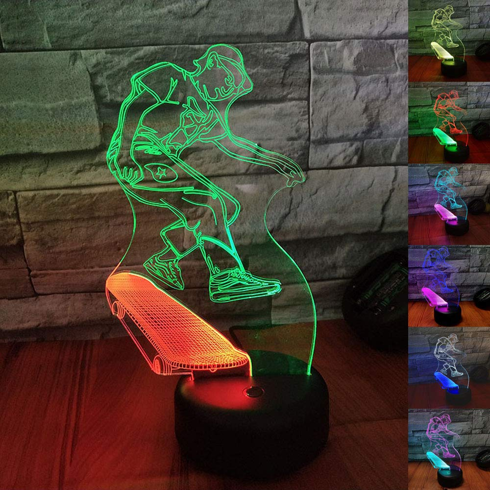 SZLTZK Christmas Gift Dual Color 3D LED Boy & Skateboard Night Light 7 Color Touch Switch with Battery Compartment USB Cable Table Desk Baby Nursery Lamp Home Decor Birthday Present for Kids Boy Girl
