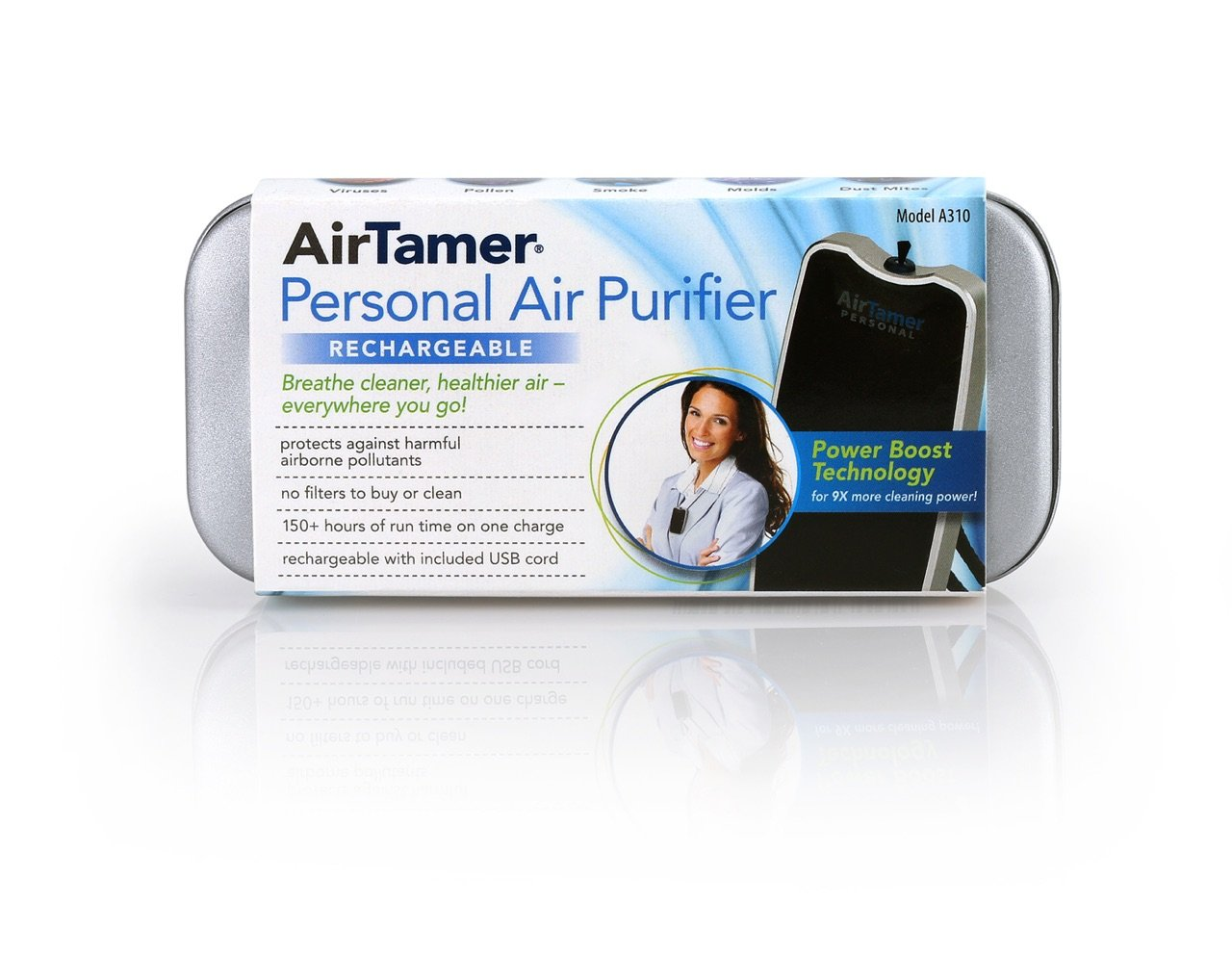AirTamer A310 |Personal Rechargeable and Portable Air Purifier | Negative Ion Generator | Purifies Air Eliminating Germs, Dust, Viruses, Bacteria, Allergens, Mold, Odors, and More | Black by AirTamer (Image #8)