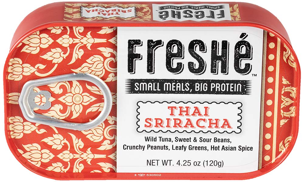 Freshé Gourmet Tuna Thai Sriracha (6 pack of 4.25 oz. tin) With Sweet and Sour Beans, Crunchy Peanuts, Leafy Greens, and Hot Asian Spice