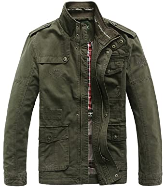JIINN Hombre Primavera Otoño Invierno Casual algodón clásico Multi-Bolsillo Metal Zipper Cargo Estilo Militar Chaqueta Al Aire Libre Tops Escudo
