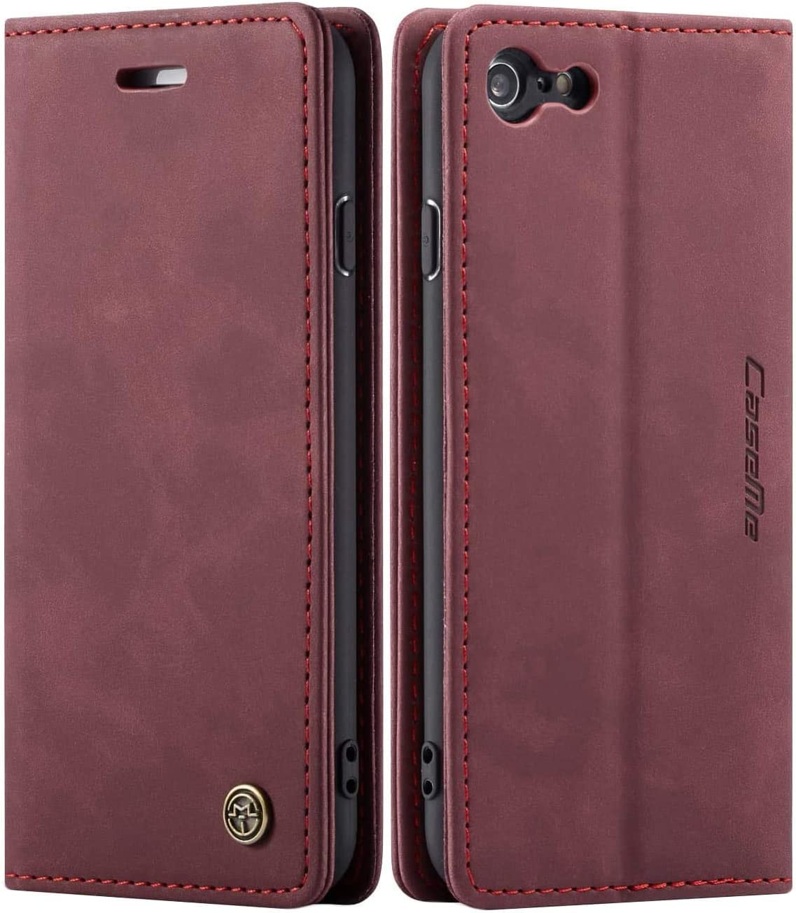 iPhone 6 Wallet Case iPhone 6S Leather Case, SINIANL Folio Case with Kickstand Credit Card Holder Magnetic Closure Folding Flip Book Cover Case for Apple iPhone 6 iPhone 6S - Wine Red