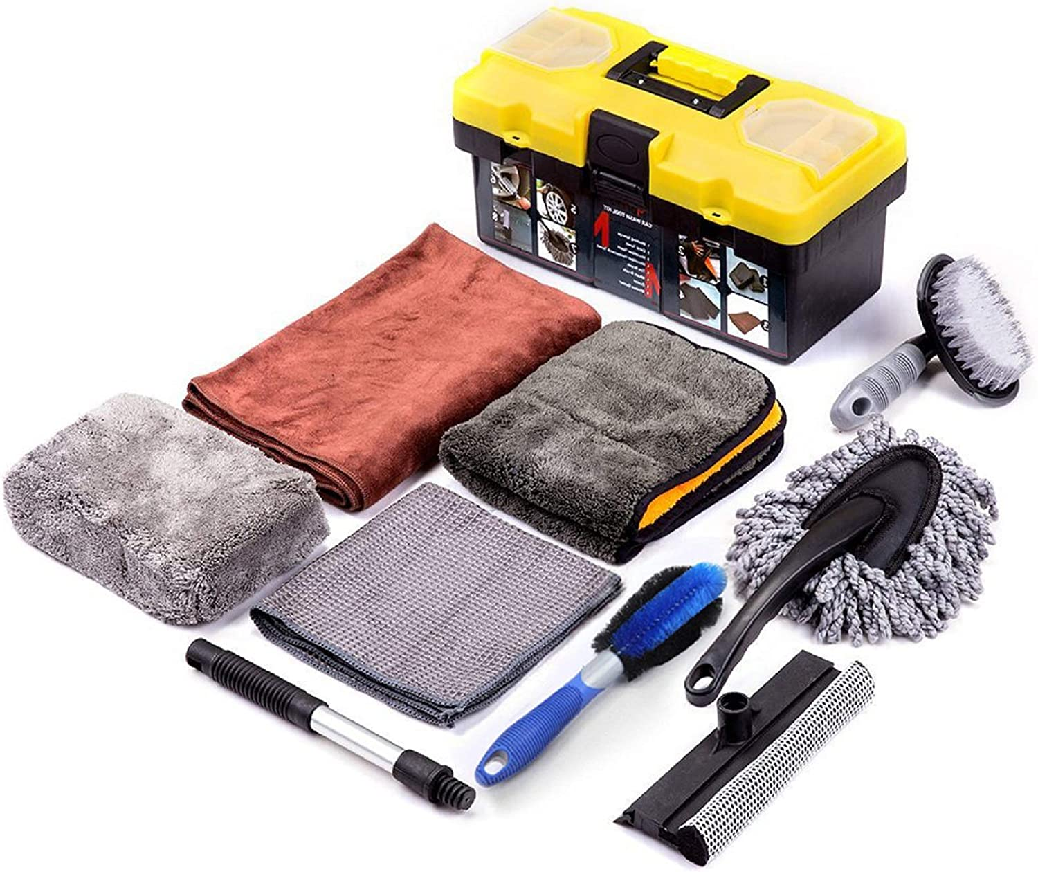 YAVO-EU Car Care Cleaning Tool,9-piece car wash cleaning kit,Microfiber gloves and polishing cloth Car wheel cleaning brush and Cleaning sponge