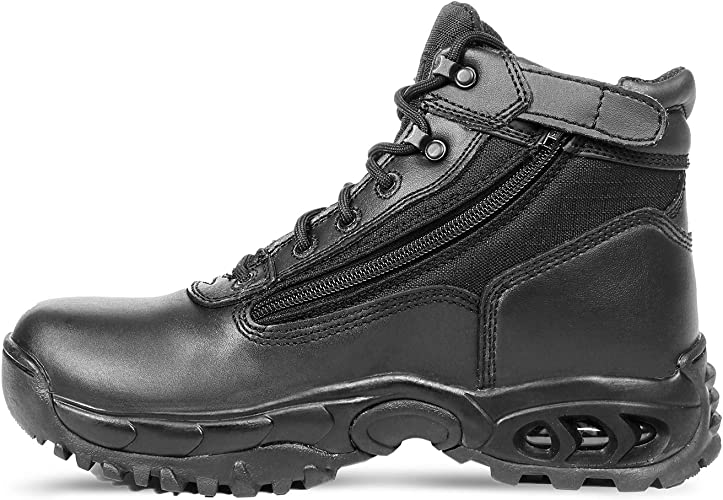 Ridge 8003ALWP Mid Side Zip ALWP Black Leather 6 Inch All Leather WP Boots