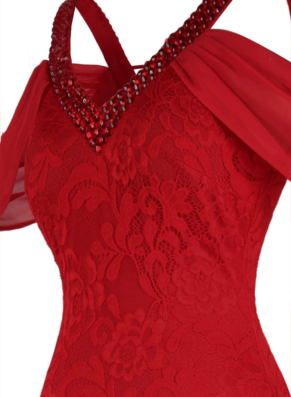 Angel-fashions Da Donna in profondita Scollo a V Spalle Scoperte Floreale Pizzo Sirena Vestito da Sposa