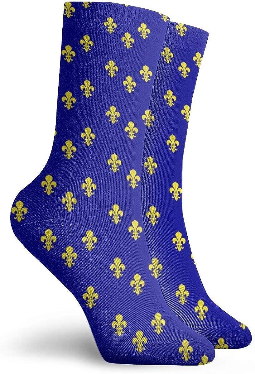 Personalized Crew Socks With Fleur De Lis Print For Women Men