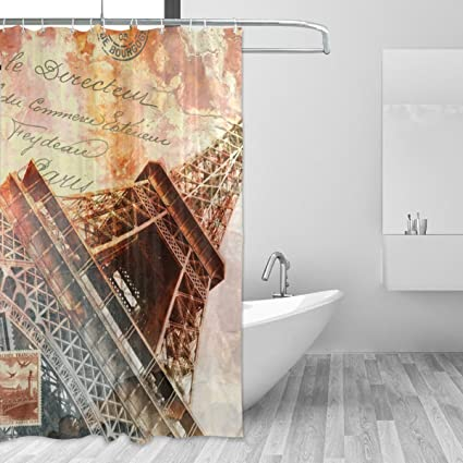 Image Unavailable Not Available For Color LORVIES Eiffel Tower Paris Shower Curtain Set