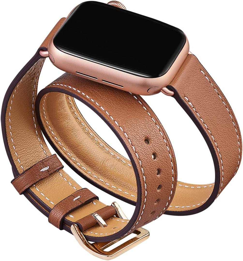 OMIU Band Compatible for Apple Watch 38mm 40mm 42mm 44mm, Leather Double Tour Smart Watch Wristband Compatible for Women Men iWatch Series 5/4/3/2/1 (Brown/Rose Gold, 38mm 40mm)