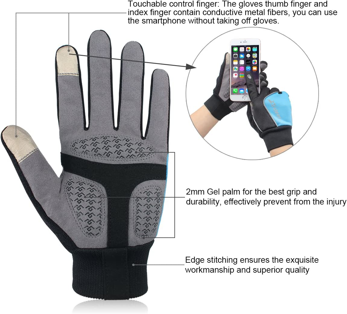 Trideer Winter Gloves Touchscreen Windproof Multifunctional Full Finger Gloves, Great for Ski Cycling Camping Hiking, for Men & Women (Black+Blue, L): Amazon.es: Deportes y aire libre