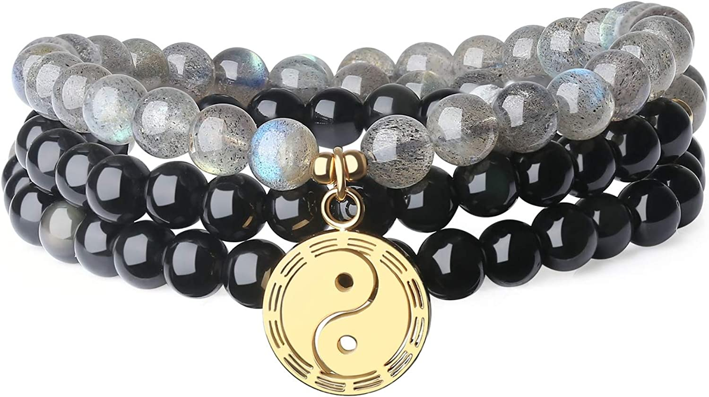 COAI Pulsera Collar Unisex en Obsidiana y Labradorita con Amuleto Taiji, Pulsera Multicapa Yin Yang con Hilo Elástico