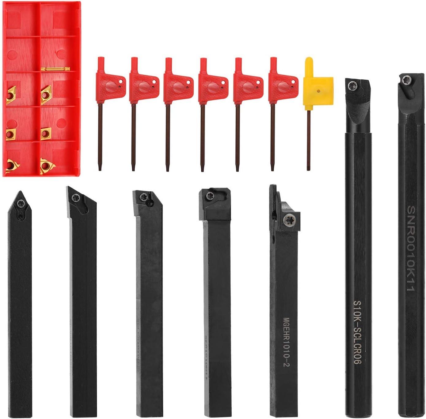 KKmoon 7pcs 10mm Schaftdrehmaschine Drehwerkzeughalter Bohrstange mit Hartmetalleins/ätzen