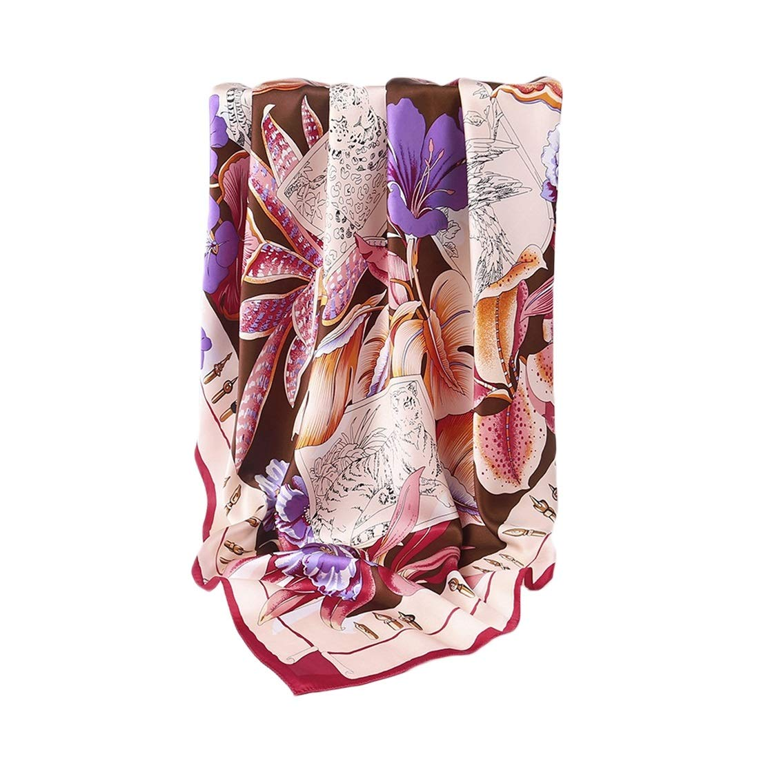 2 KERVINJESSIE Silk Scarf Spring Summer and Autumn Satin Silk Print Long Scarf (color   2, Size   175x52CM)