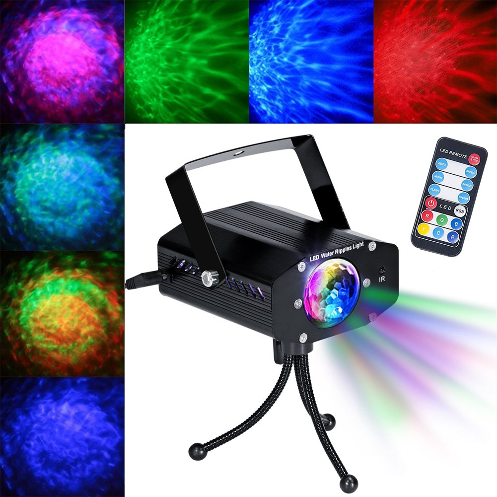 Samjat LED Projector Laser Lights Mini Auto Led Stage Lights Portable 7Colors Sound Activated Party Lights 3W Dj Light with Remote Control for Home Room Dance Parties Birthday Bar Karaoke Xmas Wedding Samjat Technology