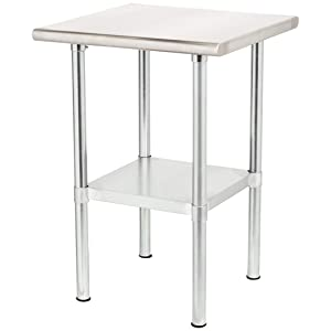 Rockpoint Carmona Tall NSF Stainless-Steel Kitchen Work Table with Adjustable Shelf