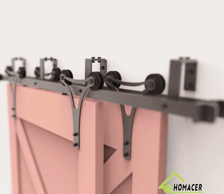 Black Rustic Heavy Duty Interior Exterior Use 7.5FT Flat Track Black Wheel Design Roller Homacer Sliding Barn Door Hardware Standard Single Door Kit