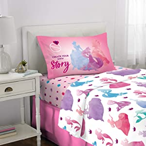 Franco Kids Bedding Super Soft Microfiber Sheet Set, 3 Piece Twin Size, Disney Princess
