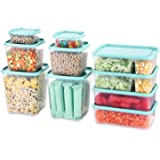 Fresh Friend Plastic Food Storage Containers with Blue Lids BPA Free, Stackable Kitchen Storage Containers for Food…