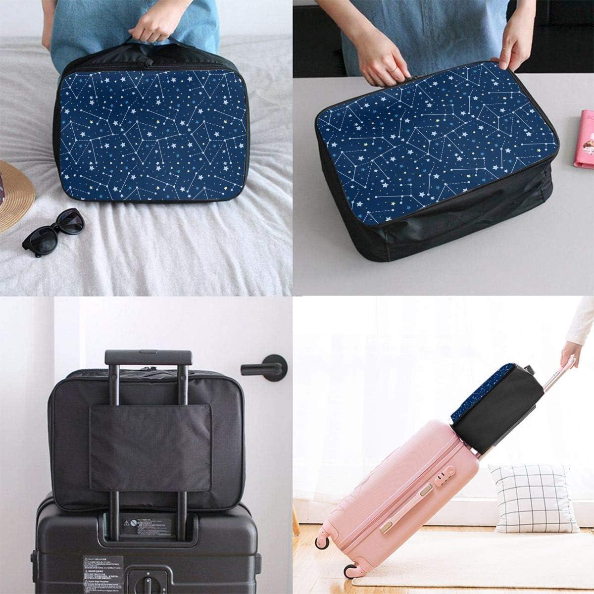 Galaxy Star Travel Carry-on Luggage Weekender Bag Overnight Tote Flight Duffel In Trolley Handle