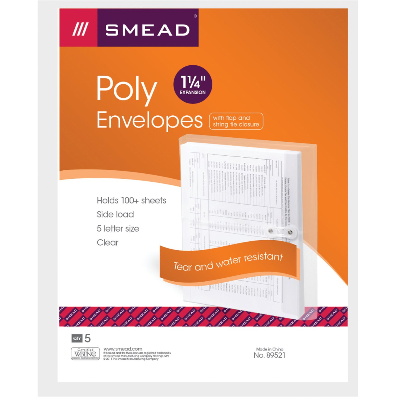 Smead Poly Envelope, 1-1/4'' Expansion, String-Tie Closure, Side Load, Letter Size, Clear, 5 per Pack, 6 Pack, 30 Envelopes Total (89521) - Bundle Includes Universal Letter Opener by Smead (Image #2)