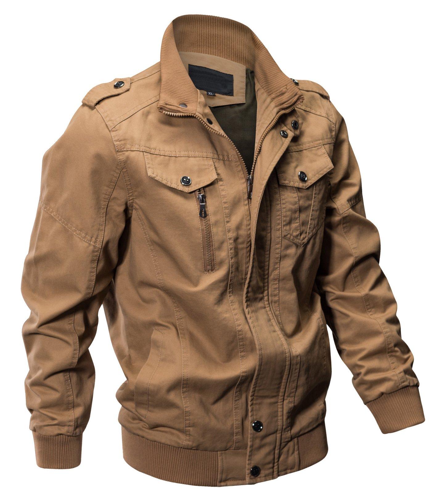 Seeksmile Men's Cotton Lightweight Casual Jacket (X-Large, Khaki) by Seeksmile