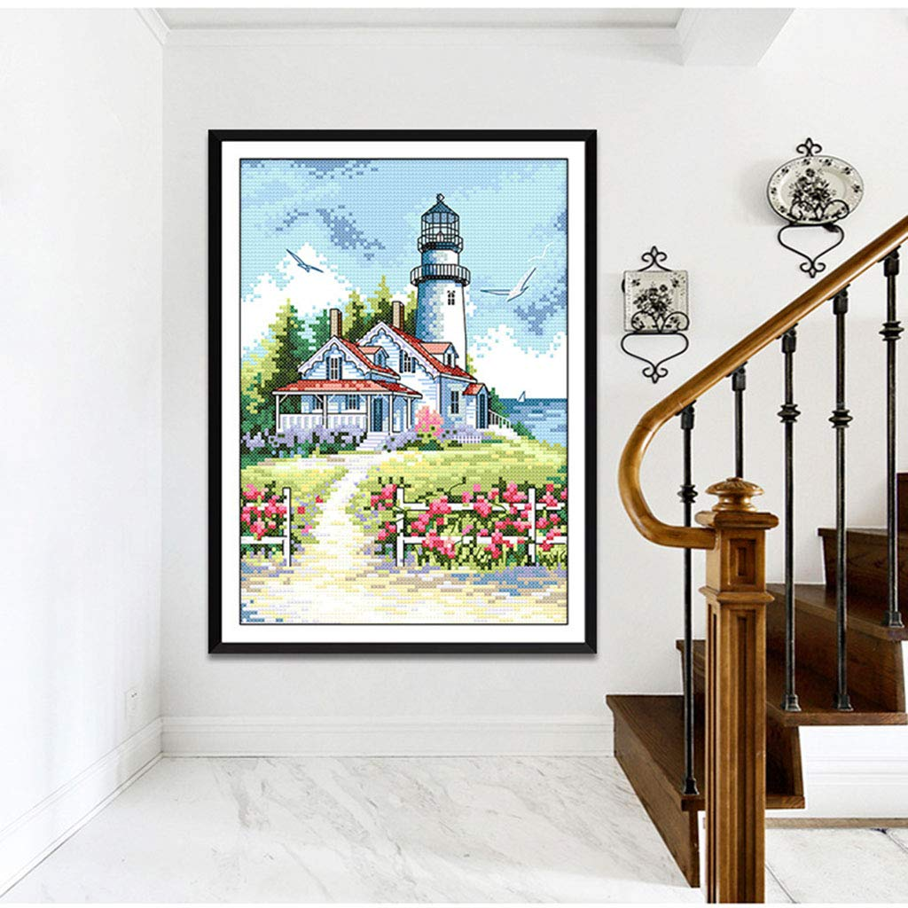 Detailed Drawing etc Needles 11CT Prettyia Lighthouse Patterns Cross Stitch Stamped Kits with Pre-Printed Embroidery Cloth