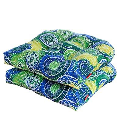 Pcinfuns Outdoor/Indoor All Weather Wicker Seat Cushion,Green Circle,Set of 2: Home & Kitchen
