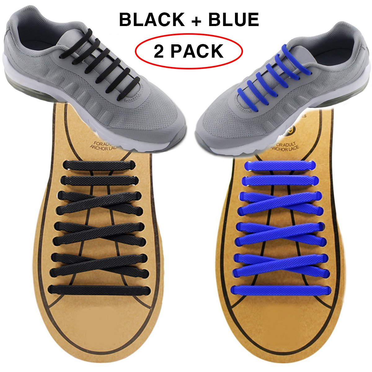 Extra No Tie Shoelaces for Men and Women – Bestのスポーツファン – 防水シリコンゴムフラットAthletic Running Shoe Lacesマルチカラースニーカーブーツボードの靴およびカジュアル B076TFF672 Black + Blue Black + Blue