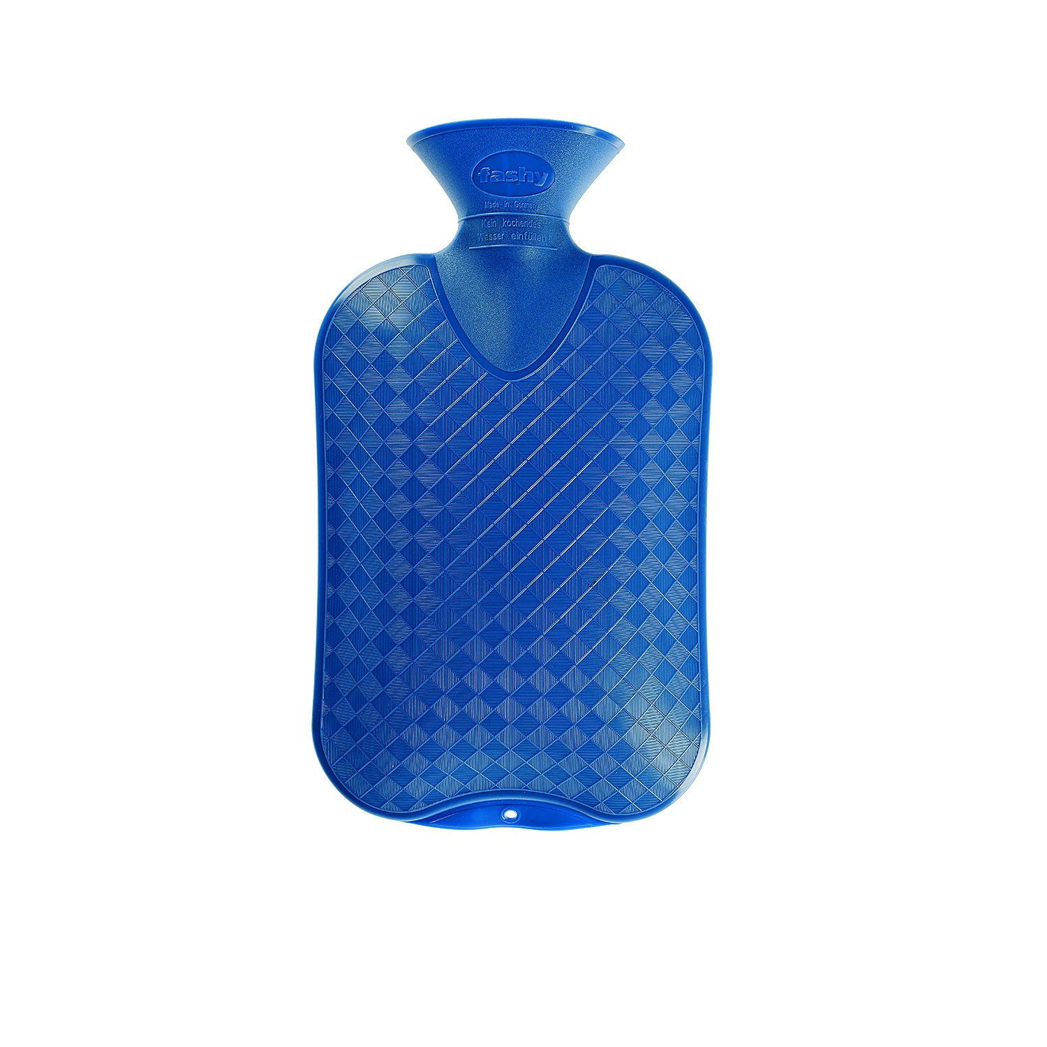 Fashy Classic Cross-Hatched Hot Water Bottle - BLUE - Made in Germany