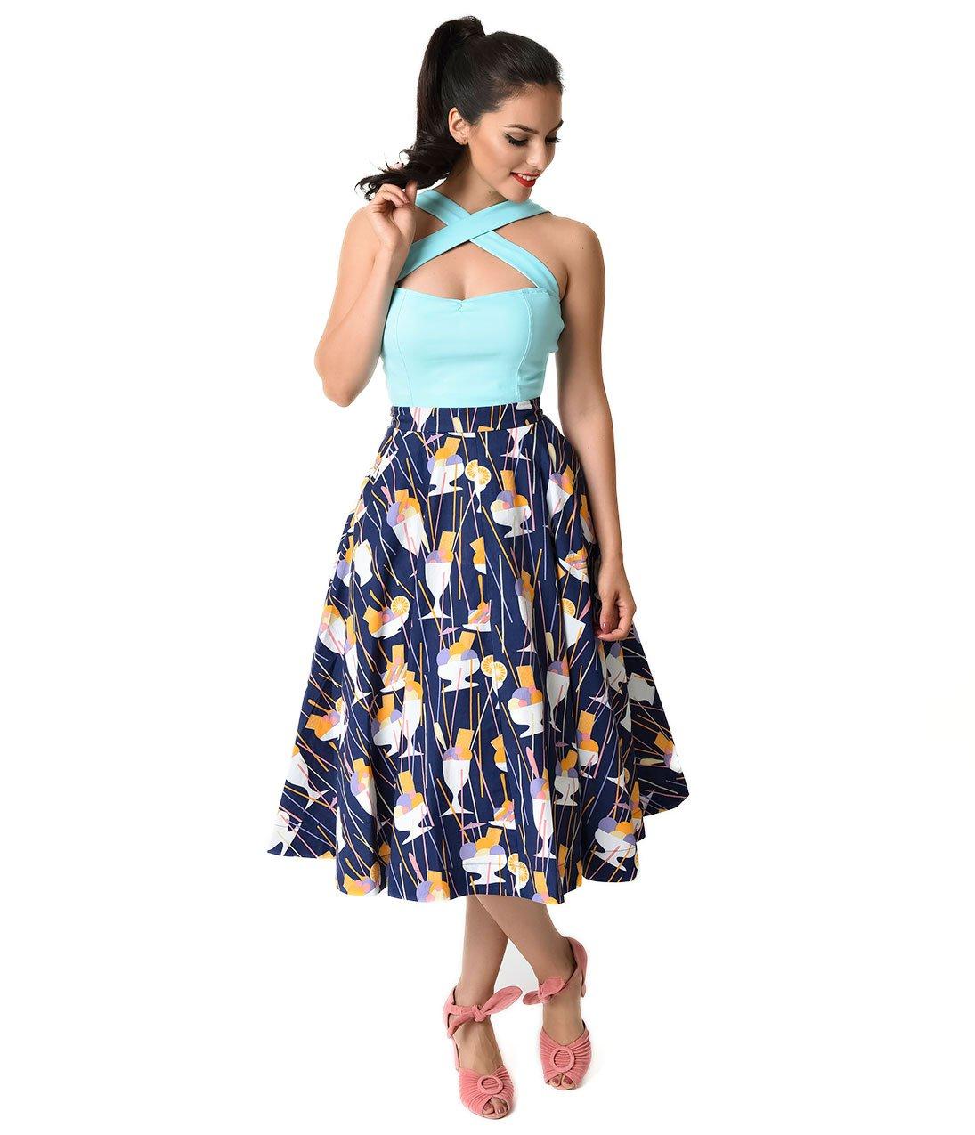 Vintage Style Navy Ice Cream Sundaes Sandy Ballerina Skirt
