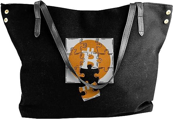 Bitcoin Womens Tote Bags Canvas Shoulder Bag Casual Handbags