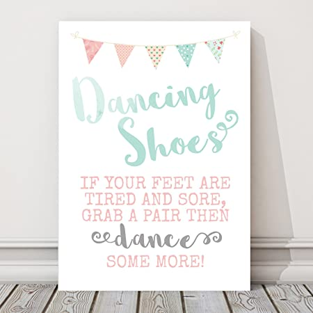 0fe974dbb Pretty Bunting Wedding Dancing Shoes Table Sign (T)  Amazon.co.uk  Kitchen    Home