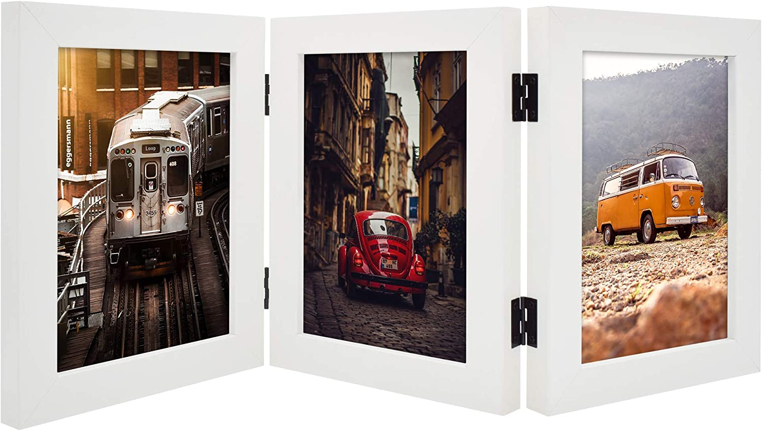 Frametory, Hinged Frame with Front Glass - Made to Display Three Pictures, Stands Vertically on Desktop or Table Top (White, 5x7 Triple)