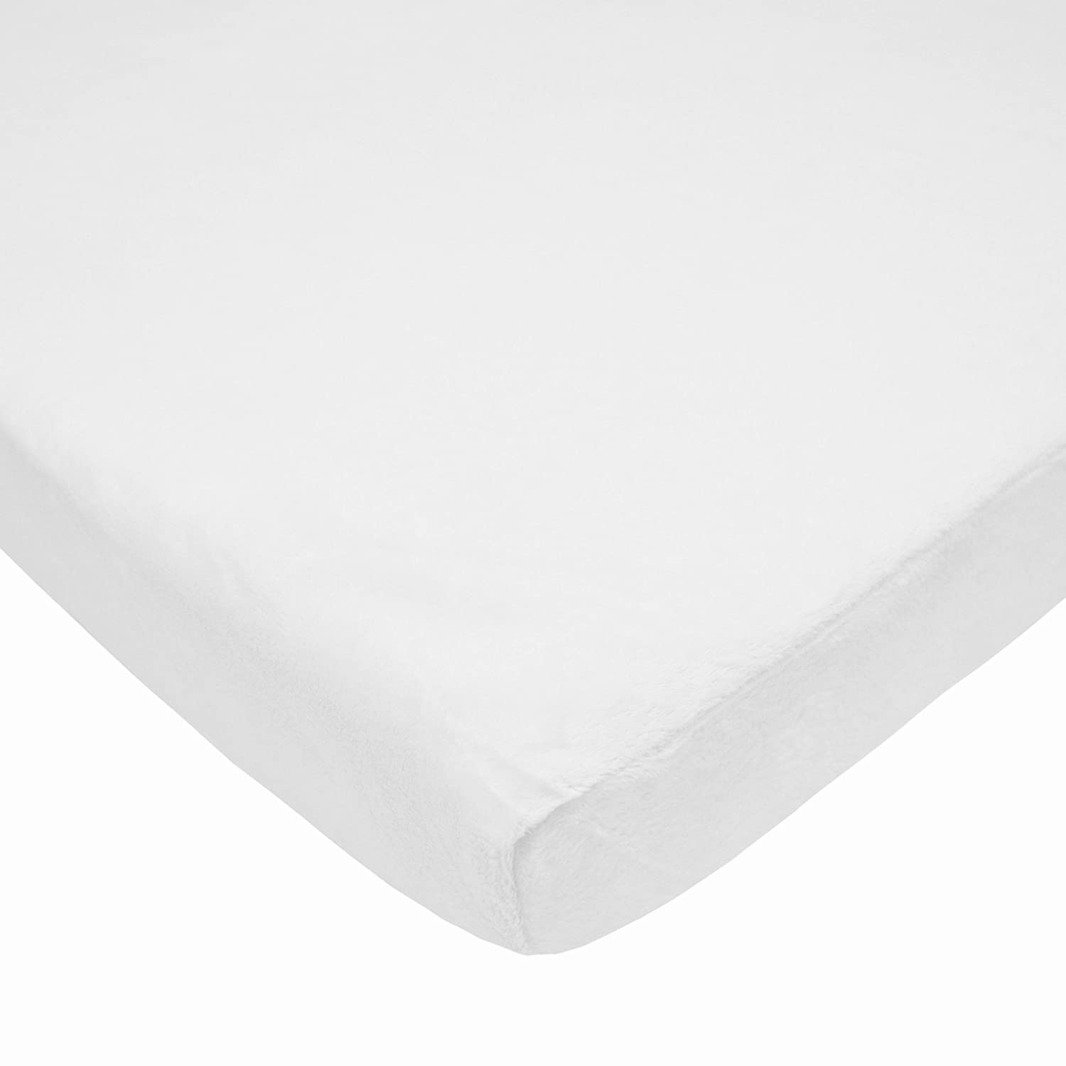 American Baby Company Fitted Portable//Mini-Crib Sheet,Heavenly Soft Chenille,White for Boys and Girls