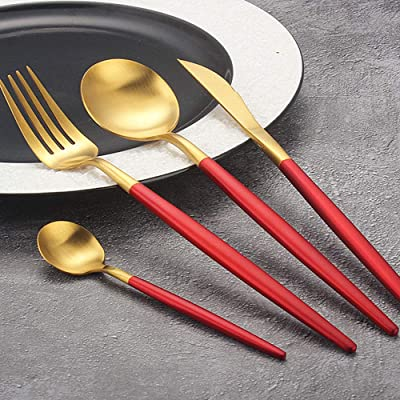 Bnmy 304 Stainless Steel Christmas Cutlery Set Red Gold Western Cutlery Steak Cutlery