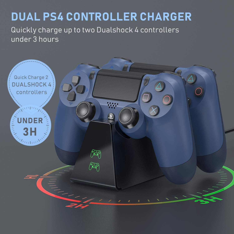 Vivefox PS4 Controller Charger DualShock 4 Controller USB Charging Station Dock, PlayStation 4 Charging Station for Sony Playstation4 / PS4 / PS4 Slim / PS4 Pro Controller Interior Negro cargador de dispositivo móvil: Amazon.es: Electrónica