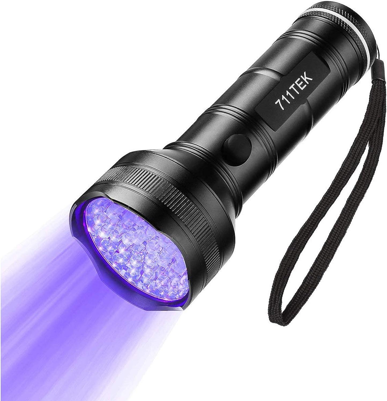 711TEK UV Flashlight Black Light, UV Lights 51 LED Matching with Pet Odor Eliminator, Ultraviolet Blacklight Pet Urine Detector for Dog Cat Urine, Dry Stains, Bed Bug (UV Flashlight)