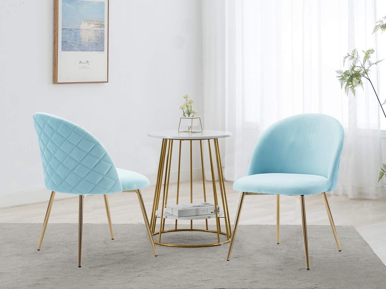 Altrobene Velvet Accent Dining Chairs, Home Office/Living Room/Bedroom  Chair, Set of 5, Golden Mental Legs, Blue