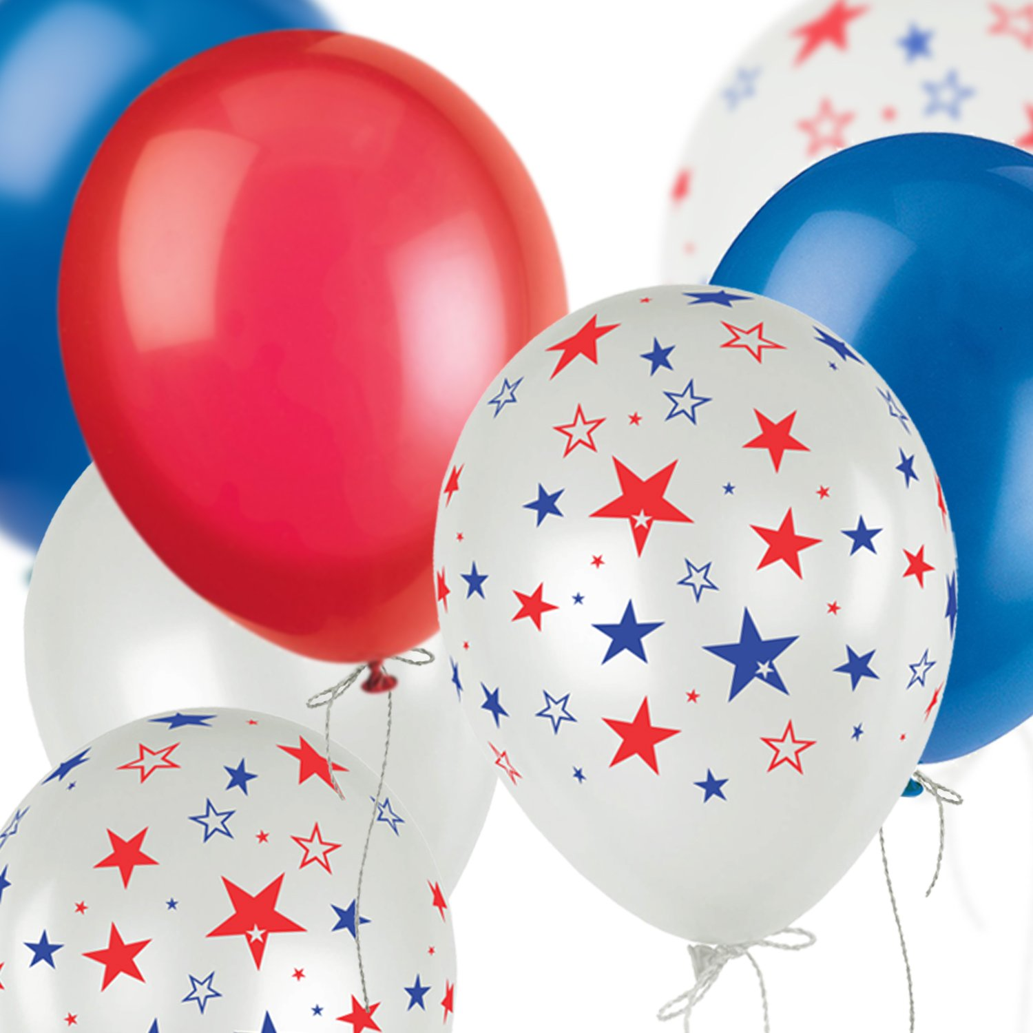 Patriotic Party Supplies, Fourth of July Decorations | White, Red, Blue Latex Balloons Assortment to Celebrate 4th of July, 100 Pieces | Perfect for Home Decor, Events, Independence Day Theme Parties
