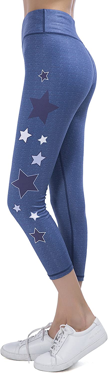 SPECIALMAGIC Womens Mid Waist Star Print Tight Leggings with Inner Pockets