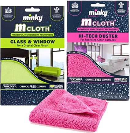 Kitchen Glass Window Hi-Tech Duster /& Antibacterial Pad Minky M-Cloth