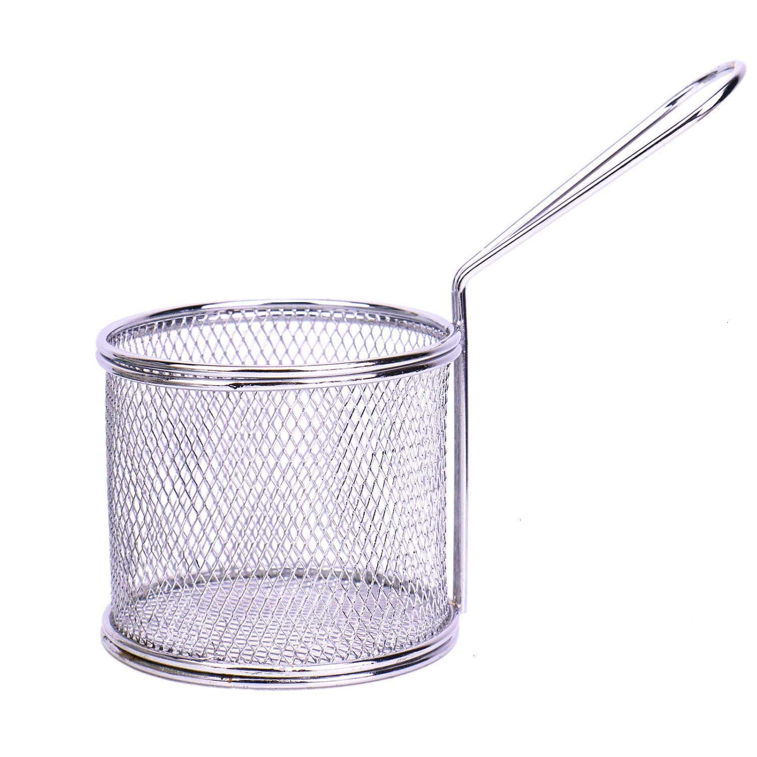 JETEHO 3.4 Inches Diameter Stainless Steel Mini Round Fry Basket Cooking Tool French Fries Basket