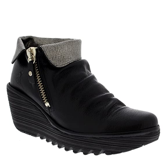 f7e1932c29b6f FLY London Womens Yoxi Casual Mousse Leather Black Wedge Heel Ankle Boot -  Black/Silver - 11