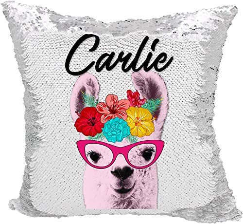 Llama Sequin Pillow, Personalized Llama Reversible Sequin Pillow Silver White