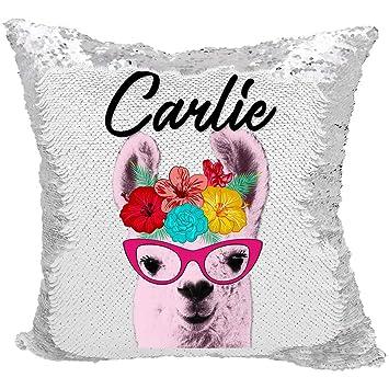 Amazon.com: Llama almohada de lentejuelas, almohada de ...
