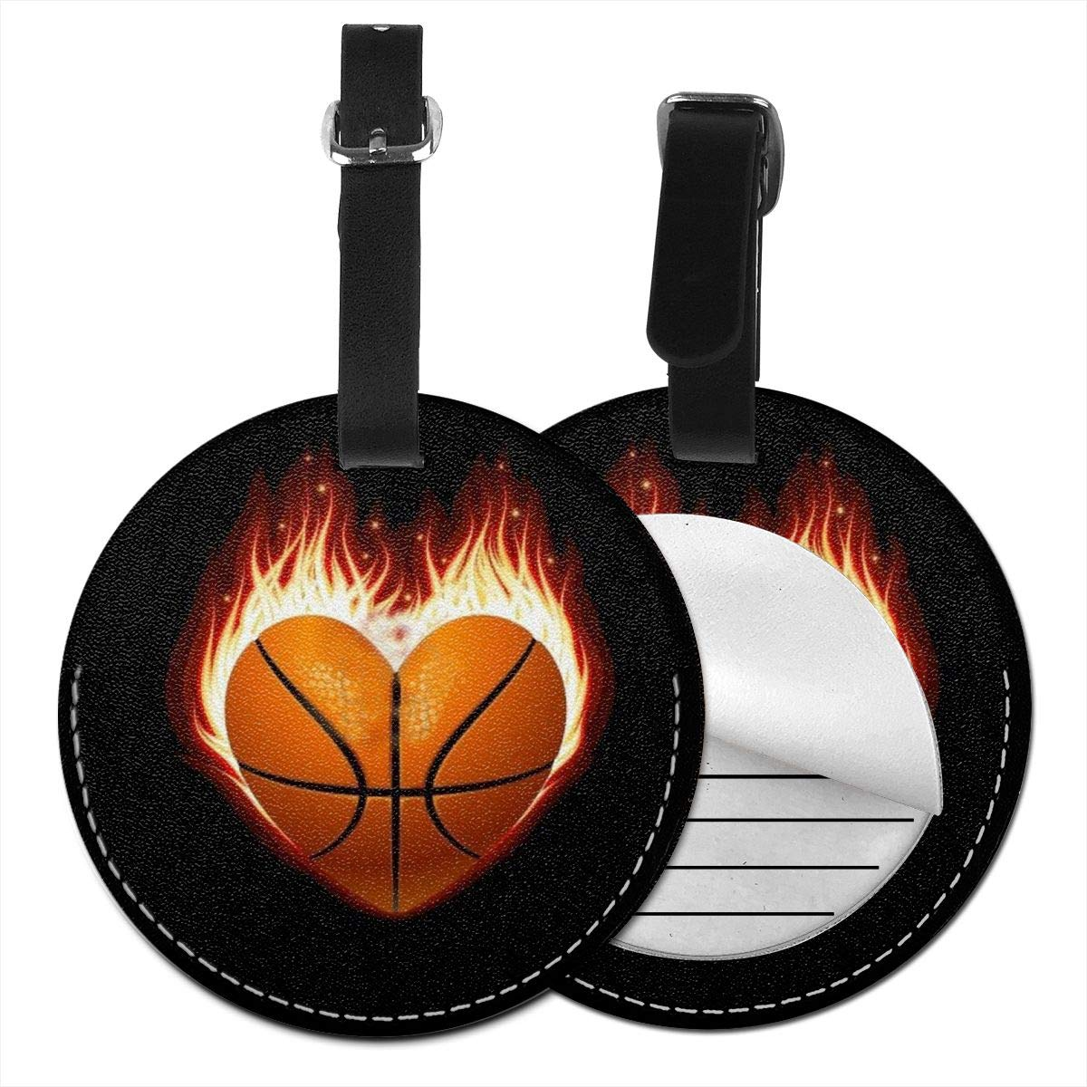 RITGOWWV PU Leather Luggage Tags 3D Print Heart Basketball On Fire Suitcase Labels Bag Travel Accessories