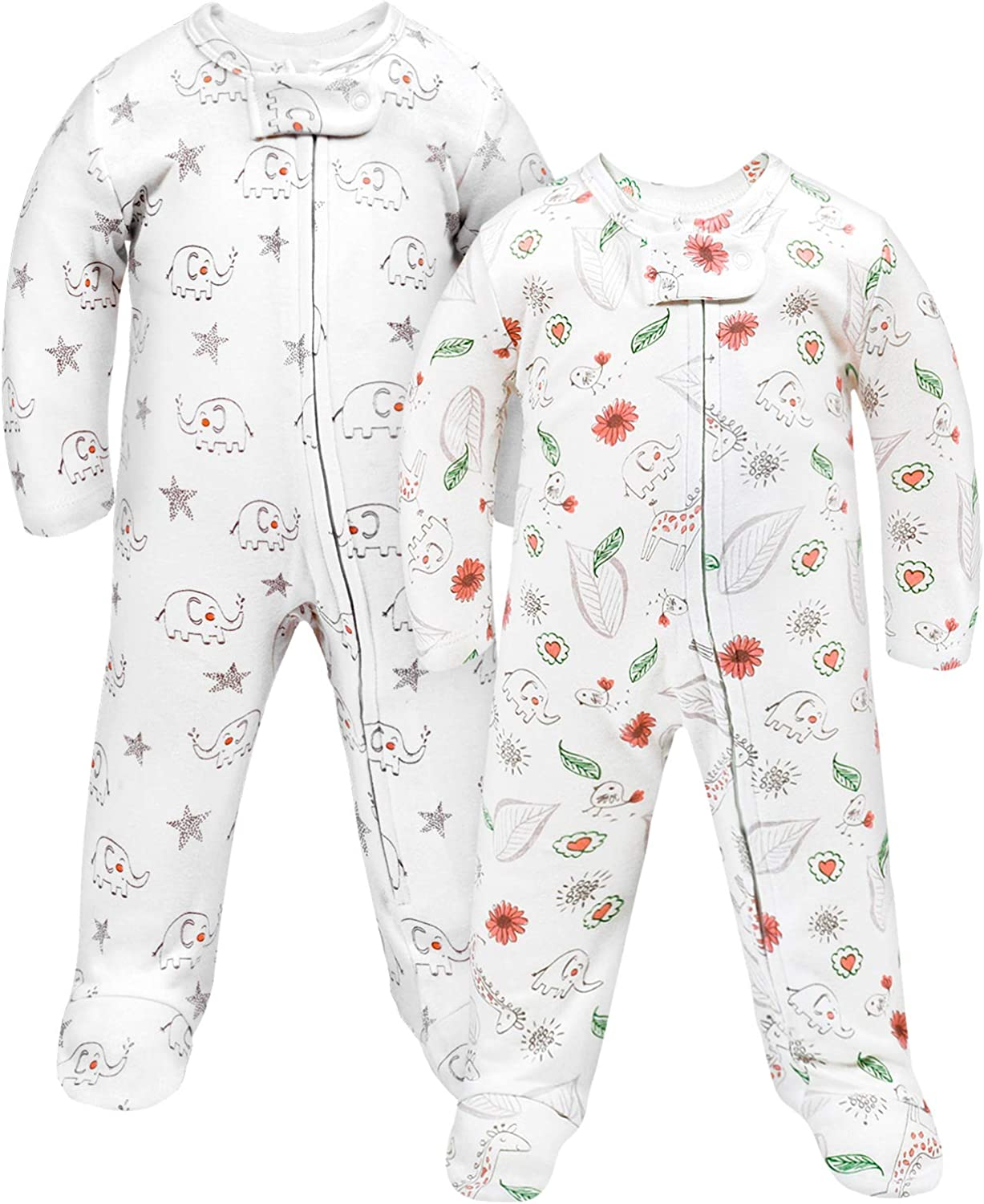 2-Pack Cotton Footed Sleep and Play Pajamas, Snug Fit Footies for Baby Boy Girl