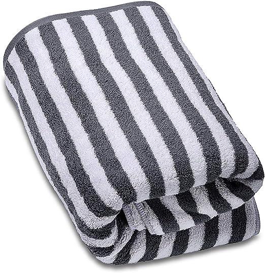 SEMAXE - Toalla, algodón, Rayas Grises, 1 Bath Towel: Amazon.es: Hogar