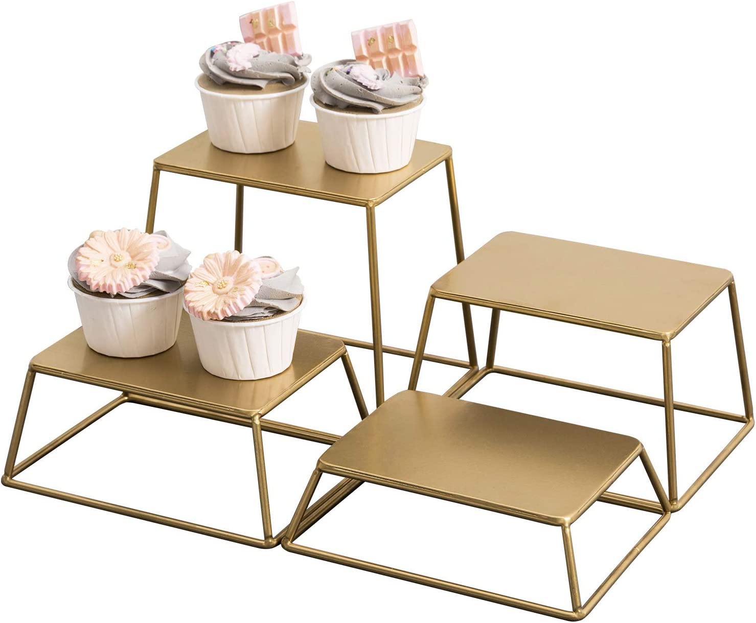 MyGift Modern Brass Tone Metal Nesting Buffet Table Food or Retail Display Risers, Set of 4