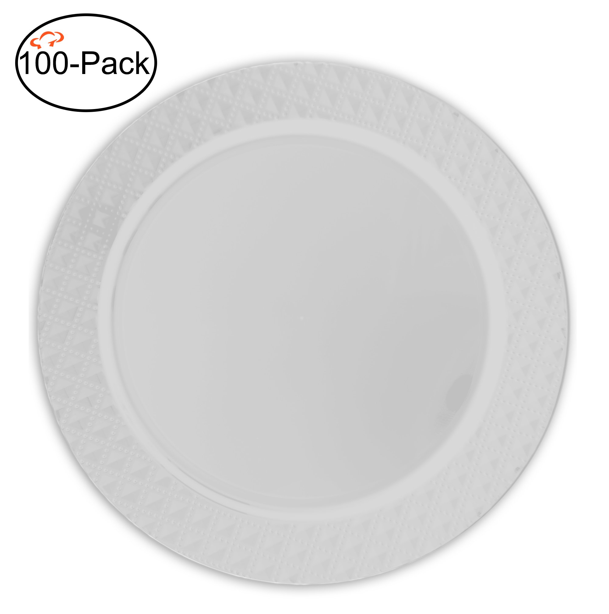 Tiger Chef 100-Pack 13 inch Round Clear Diamond Plastic Charger Plates Disposable Set of 2, 4, 6, 12 or 24 for Parties, Wedding, and Special Events